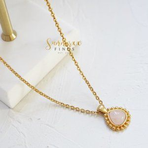 Madewell Rose Quartz Mini Pendant Necklace